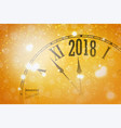 2018 new year shining banner with clock vector image