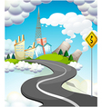 A curve road with a yellow signage vector image vector image