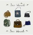 backpack tote bag clutch handbag fashion vector image vector image