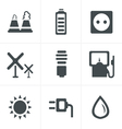 black eco energy icons set on gray vector image vector image