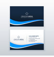 blue business card design with wavy shape vector image vector image