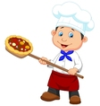 Cartoon a baker with Pizza vector image vector image