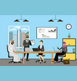 cartoon multicultural business people working vector image vector image