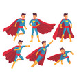 cartoon superhero character muscular male vector image vector image