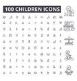 children editable line icons 100 set vector image vector image