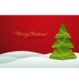 Christmas tree on red background card vector image vector image
