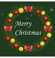 Christmas wreath with red and gold balls vector image