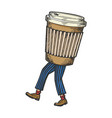 coffee disposable cup walks on its feet sketch vector image vector image
