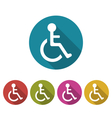 colorful pictograph disabled in wheelchai vector image