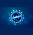 covid-19 coronavirus neon glow light warning vector image vector image