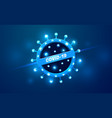 covid19-19 coronavirus neon glow light warning vector image vector image