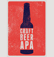 craft beer apa typography vintage grunge poster vector image vector image