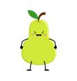 cute cartoon pear kawai pear vector image