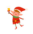 cute christmas elf in red costume and hat ringing vector image vector image