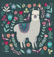 cute llama with floral elements template for card vector image