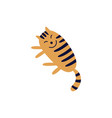 cute smiling tabred cat lying on its side flat vector image vector image