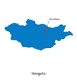 Detailed map of Mongolia and capital city Ulan vector image vector image