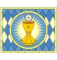 Eucharist Christian Symbol stained glass vector image