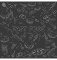 Fast food seamless design chalk line art vector image