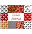 Floral ornate seamless decoration patterns vector image