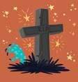 halloween graveyard tomb vector image
