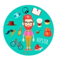 Hipster Character Accessories Flat Round vector image vector image