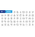 hotel elements - thin line web icon set outline vector image