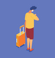 isometric male character in face mask with travel vector image