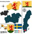 Map of Kronoberg vector image vector image
