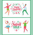merry christmas happy holidays sale winter offer vector image vector image