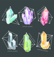 natural crystals in a shaped geometric frame vector image