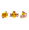 natural honey production labels or icons set vector image vector image