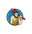 Neanderthal CaveMan Plumber Monkey Wrench Circle vector image vector image
