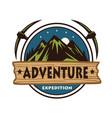 night adventure mountain climbing logo vector image vector image