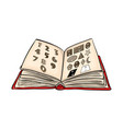 open book cartoon with numbers and shapes vector image