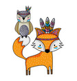 owl and fox animals with feathers design