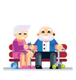 senior couple embracing sitting on bench retired vector image