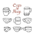 set 8 cute mugs and cups vector image