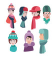 set of hats for winter season man and woman hats vector image vector image