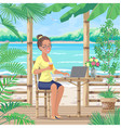 smiling girl sits at tropical coast vector image