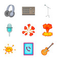 sound control icons set cartoon style vector image