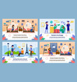 students exchange program flat banners set vector image vector image