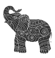 stylized elephant in a graphic styleblack and whit vector image