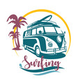 surfing camper stylized symbol design elements vector image vector image