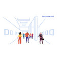 tourists looking modern art gallery mix race vector image vector image