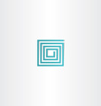 turquoise square spiral logo icon vector image vector image