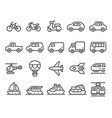 vehicle line icon set vector image vector image