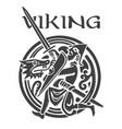 viking design viking warrior fights dragon vector image
