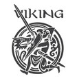 viking design warrior fights dragon vector image