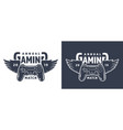 winged gamepad or joystick emblem vector image vector image
